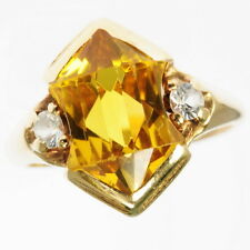 Vintage 10k Yellow Gold Citrine Cubic Zirconia Cocktail Dinner Estate Ring