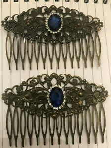 (2) Retro Sapphire Blue Crystal French Filigree Vintage Bronze Hair Combs