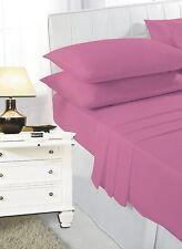 Single Bed Plain Dyed Fuchsia Pink Sheet Set Fitted Flat Pillowcase Polycotton