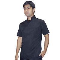 HIDDEN BUTTON Kitchen Chef Jacket shirt Black Chefs Wear catering Short SLEEVE