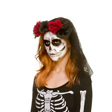 Black Veil With Roses Ladies Day Of The Dead Fancy Dress Accessory