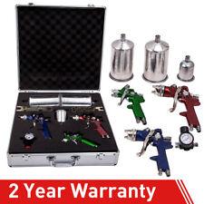 3 Hvlp Aluminum Air Spray Gun Kit Auto Paint Car Primer Detail Clearcoat w/Case