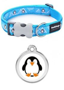 Red Dingo PENGUIN Dog / Puppy Collar    Engraved ID Tag   XS - LG   Free P&P