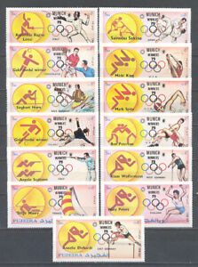 FUJEIRA 1163X-1187X MH MUNICH OLYMPIC WINNERS OVERPRINT MINT HINGED PERF SET