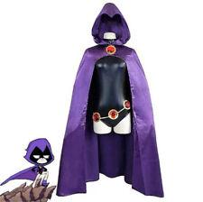 Teen Titans Raven Cosplay Jumpsuit Cloak Costume Halloween Women Fancy Dress