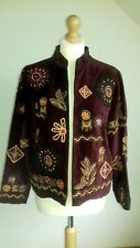 INDIGO MOON jacket xs red velvet embroidered beaded Indian Arty hippie quirky