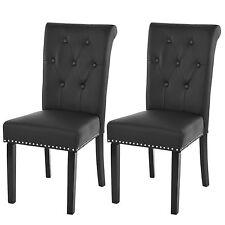 Lot de 2 chaises de salle à manger Chesterfield II ~ noir, pieds foncés