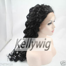 Free Ship Lace Front Wig Curly Black 1B Synthetic Hair Full Wig Heat Resistant