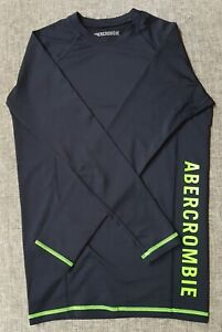 ABERCOMBIE AND FITCH Mens Compression Top Size S Navy Lime Athletes worn twice