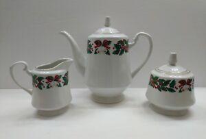 Royal Majestic Holiday Cheer Christmas Coffee/Tea Pot - Creamer & Sugar w/Lid