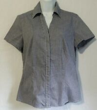 Riders Lee Easy Care Womans Sz S Blue Gingham Check Button-Up Top Blouse Shirt