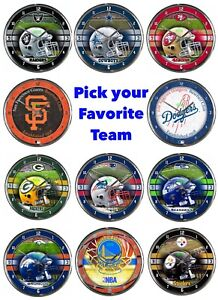 """NFL ,NBA Team Officially Licensed 12"""" Chrome Wall Clock"""