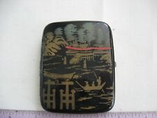 Vintage cigarette case black lacquer hand painted made in Japan