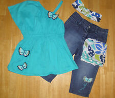 GYMBOREE TAHITIAN BUTTERFLY SWING TOP CROPPED JEANS SCARF HAIR GIRLS 9 SUMMER