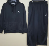NIKE AIR JORDAN THERMA-FIT TRAINING SUIT HOODIE + PANTS BLACK RARE (SIZE 2XL)