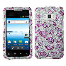 For LG Optimus Elite LS696 Crystal Diamond BLING Case Phone Cover Purple Cheetah