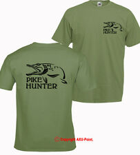 PIKE HUNTER pike fishing, carp trout hunter OLIVE T-SHIRT tee 2-sided printing