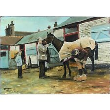 Unframed Contemporary Oil Painting Farrier Stable Yard Toomer 2005 44 x 61cm