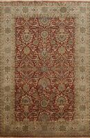 Vegetable Dye Floral Traditional Oriental Area Rug Hand-Knotted Wool Carpet 7x10