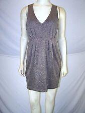 Twenty One Brown Silver Black Metallic Sleeveless Dress Womens Size Large 12 14