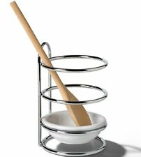 Standing Spoon Rest w Metal Frame & Removable Ceramic Dish Kitchen Storage White