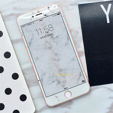 Clear Tempered Glass Marble Grain Front Case Cover For Apple iPhone 6 6s 7 Plus