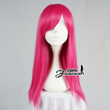 55CM Magenta Basic Long Straight Party Women Hair Cosplay Wig Heat Resistant