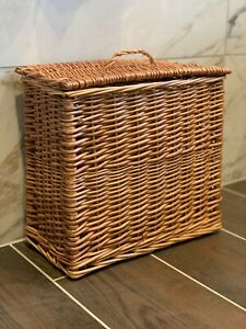 New Wicker Bathroom Storage Unit With Lid Natural Handmade High Quality Basket