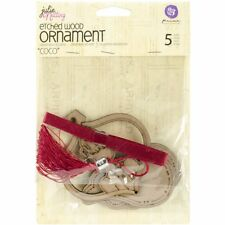 Prima Marketing Julie Nutting Mixed Media Etched Wood Ornament, Coco