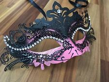 Venetian Masquerade Mask Filigree Black Pink Metal Diamonte Ball Prom Halloween