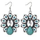 Hollowed Peacock Women Crystal Turquoise Hook Earrings Tibetan Silver Jewelry