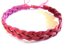 Bracelet Brésilien en Cuir Amitié Friendship Tressé Bonheur Leather rose pink