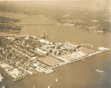 1930-50s Sepia Bird's Eye Photograph of Naval Academy Campus at Annapolis Md