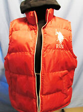 Red Hooded Insulated Polyester Mens Polo Vest by US Polo Association Size XL
