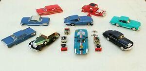 Vintage Ideal Motorific Slot Cars, 9 Bodies, 5 Chassis, Porsche, Hot Rod, Benz +