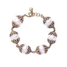 Bracelet Doré Art Deco Pavé Perle Blanc Class Retro Mariage CT9