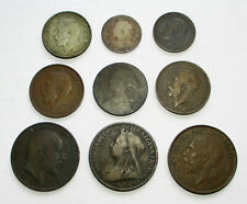Lot of 9 1861-1927 UK Coins Half Penny One Shilling Sixpence 1893 1901 1906 1917
