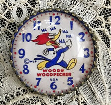 """WOODY  WOODPECKER Glass Dome BUTTON 1 1/4""""  Vintage Character Watch Dial Cartoon"""