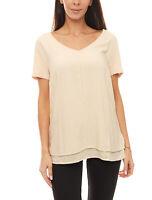 heine T-Shirt schlichtes Damen Rundhals-Shirt Jersey-Shirt im Lagen-Look Beige