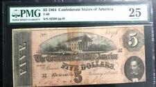 T-69 1864 $5 Confederate States of America PMG 25 VERY FINE