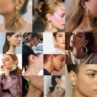 Boho Geometric Round Circle Drop Dangle Ear Stud Earrings Women Party Jewelry