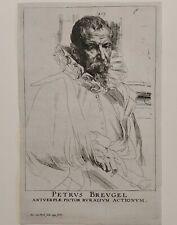 Anton Van Dyck portrait of Petrus Breugel Antique etching XVII century