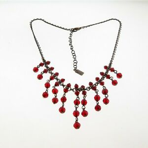 """1928 Red Bead Dangle Choker Necklace 1.5x16-18"""""""