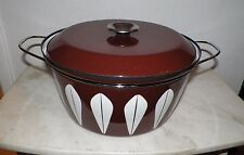 VINTAGE CATHERINEHOLM NORWAY BROWN LOTUS LARGE DUTCH OVEN POT APPROX 8 QT