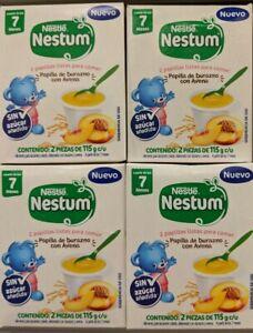 X4 Nestle Nestum 2 papillas listas para comer Durazno con Avena bebé 7 meses+
