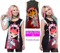 Iron Fist Rosaline Charcoal Girly Ruffle Tank Tee Size M UK10 or XXL UK16