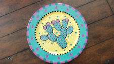 Chris Bubany Tucson SW Artist -Signed Prickly Pear Cactus Dinner Plate 11