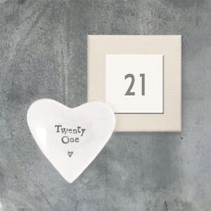 Mini 21st Birthday Porcelain Heart Trinket Dish - 21st Gift - East Of India