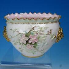 KTK Co Lotus Ware - Columbia Handled Bowl - Enameled Floral Decoration