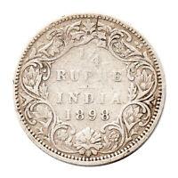 KM# 490 - Quarter Rupee (¼) - Silver(.917) Victoria - India 1898B (Fair)